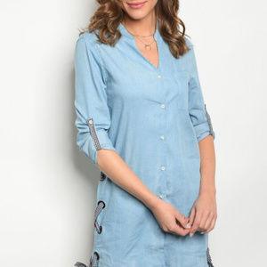 Lace up denim shirt dress